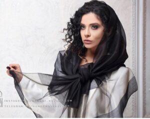 شال حریر مشکی مجلسی ساده حاشیه طلایی