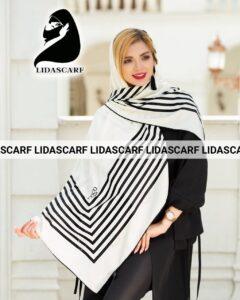 روسری مجلسی سفید مشکی سورمه ای ابریشم ژاکارد اورجینال COCO CHANEL