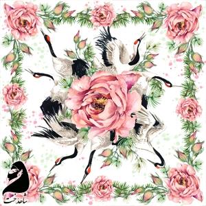 روسری مجلسی ابریشم تویل طرح مرغابی گل مرداب